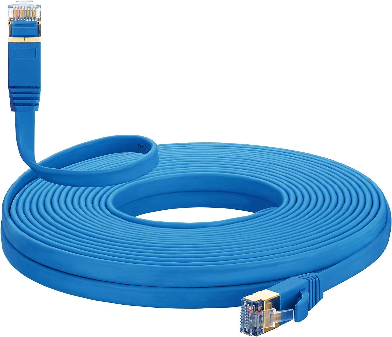 Cat 7 Ethernet Cable Don't miss the campaign 12 ft White Internet Surprise price C Blue MORELECS