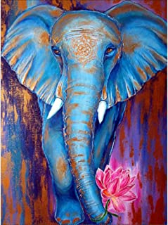MXJSUA 5D Diamond Painting by Number Kit DIY Full Round Drill Cross Stitch Embroidery Rhinestone Picture Craft Art for Home Wall Decor Blue Elephant 12x16inch
