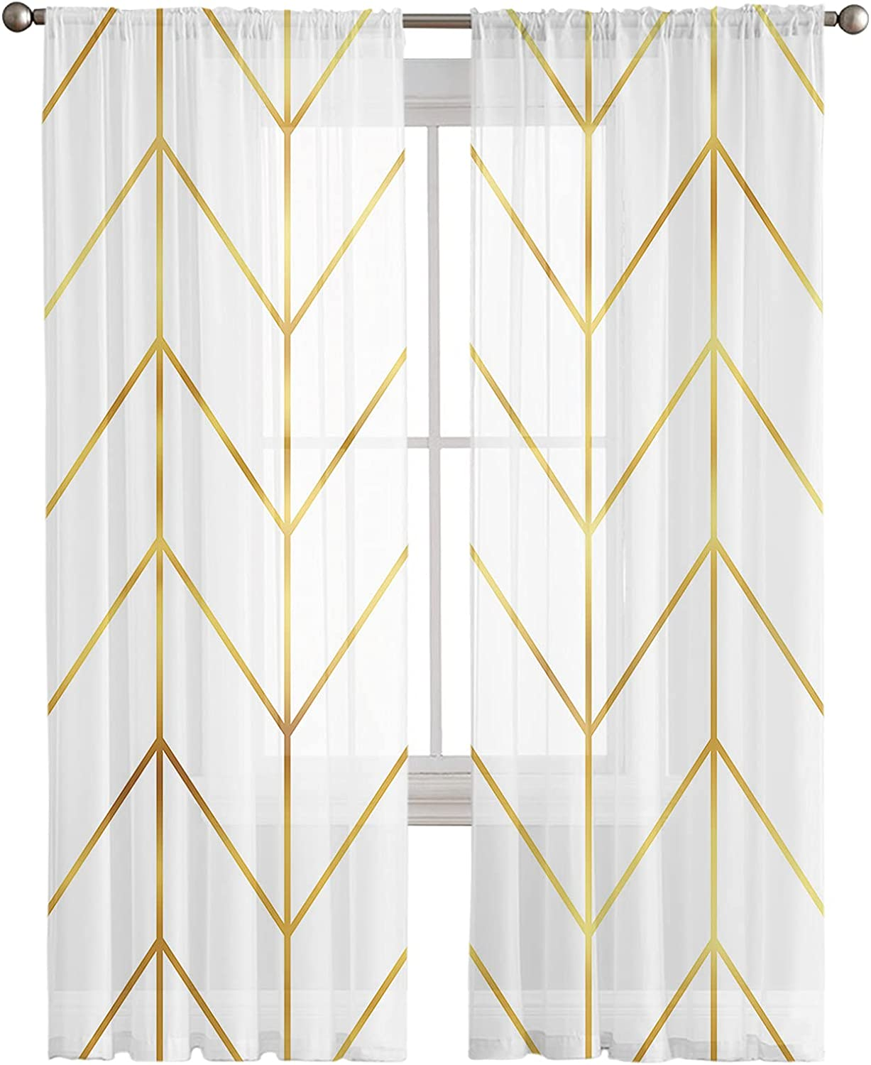 Kitchen Semi Sheer Window New products world's highest quality popular Curtain 96 Inches Panels Long Oklahoma City Mall Geometri