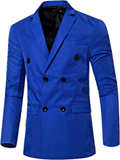 Jueshanzj Mens Blazer Double Breasted Candy Color Suit Jacket
