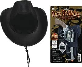 Parris Doc Holliday Wild West Die Cast Toy Cap Gun Holster Set with Black Western Child Size Realistic Cowboy Hat