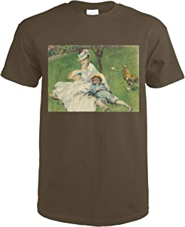 Madame Monet and Her Son - Masterpiece Classic - Artist: Auguste Renoir c. 1874 66106 (Dark Chocolate T-Shirt X-Large)
