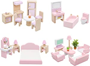 Hiawbon Wooden Classic Doll House Furniture House DIY Accessories Wood Miniature Furniture Set House Furniture Dollhouse Decoration Accessories for Christmas Birthday Gifts,Set B