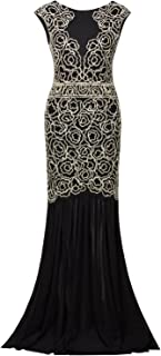 Vijiv 1920s Inspired Gatsby V Back Art Deco Beaded Maxi Evening Long Prom Dress