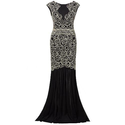 2910fd8b563d4 Vijiv 1920s Long Prom Dresses V Neck Beaded Sequin Gatsby Maxi Evening Dress