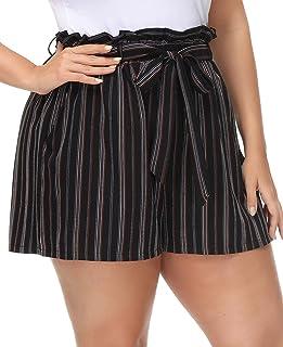 Hanna Nikole Plus Size Women's Elastic Waist Bowknot Summer Casual Shorts with Pockets