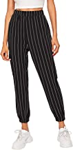 SOLY HUX Women's Sporty Elastic Waist Striped Workout Track Pants with Pockets