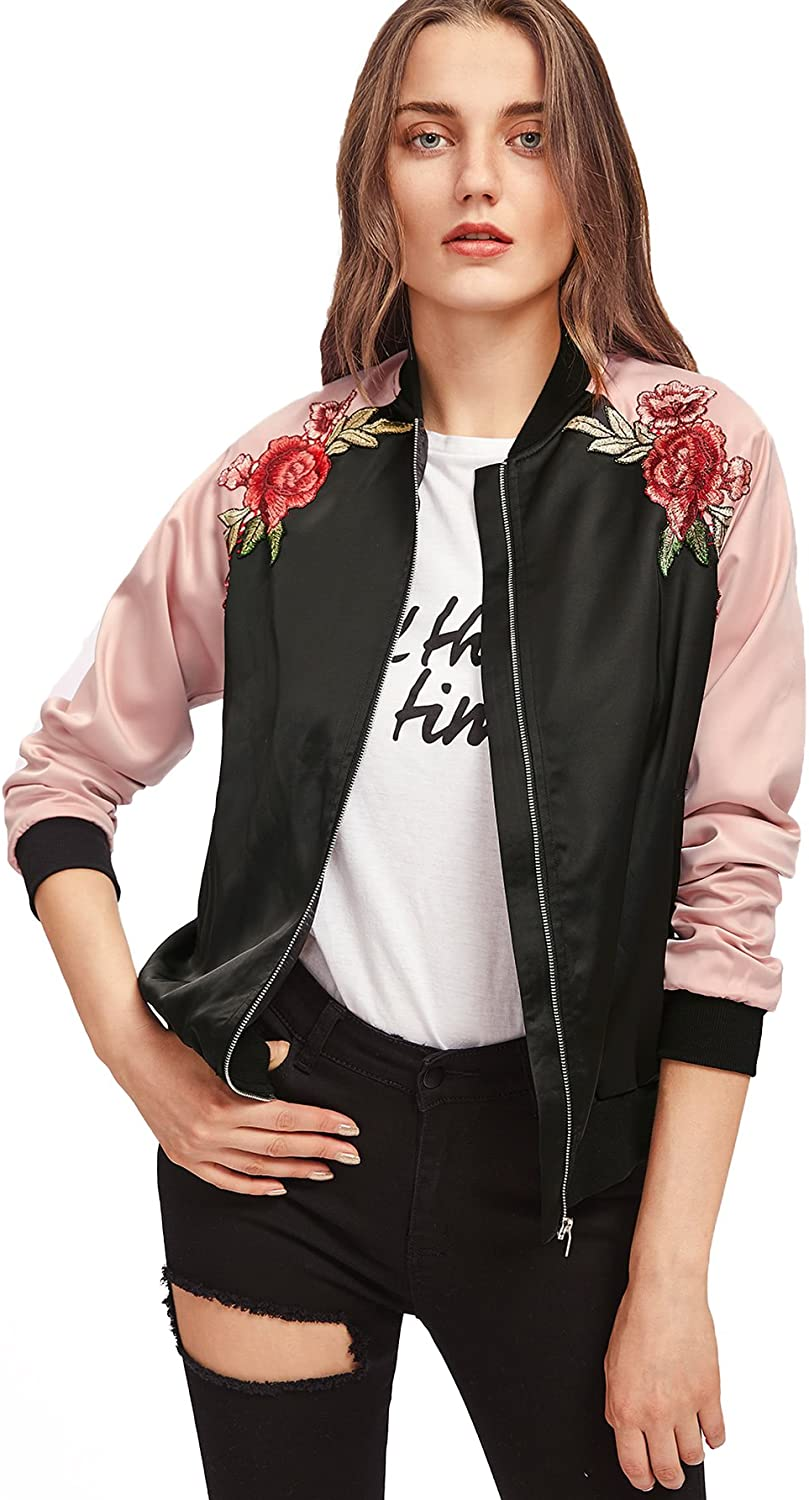 Floerns Women's Casual Short Floral Embroidered Sacramento Mall Max 66% OFF Jacket Bomber