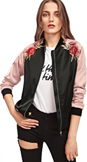 Women's Casual Short Embroidered Floral Bomber Jacket