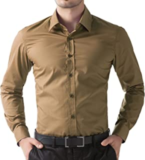 BEING FAB Men's Solid 100% Cotton Regular Fit Casual Brown Shirt