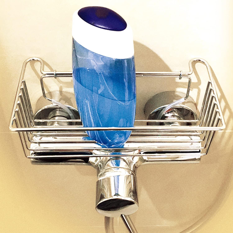 sternklar Cesta para grifería de ducha, estante para fijar en el grifo de la ducha, lavabo, sin taladrar, cromo
