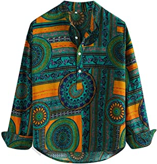 LUCKYMEN Men's Slim fit Casual Paisley Printed Long Sleeve Casual Button Down Shirt
