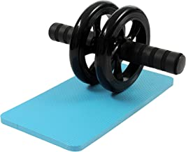 Wazdorf Anti Skid Double Wheel Total Body AB Roller Exerciser for Abdominal Stomach Exercise Training with Knee Mat Steel Handle for Men and Women