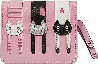 FXTXYMX Women's Cute Cat Wallets PU Leather Coin Purse Bifold Wallet Clutch Bag Card Holder for Teen Girls
