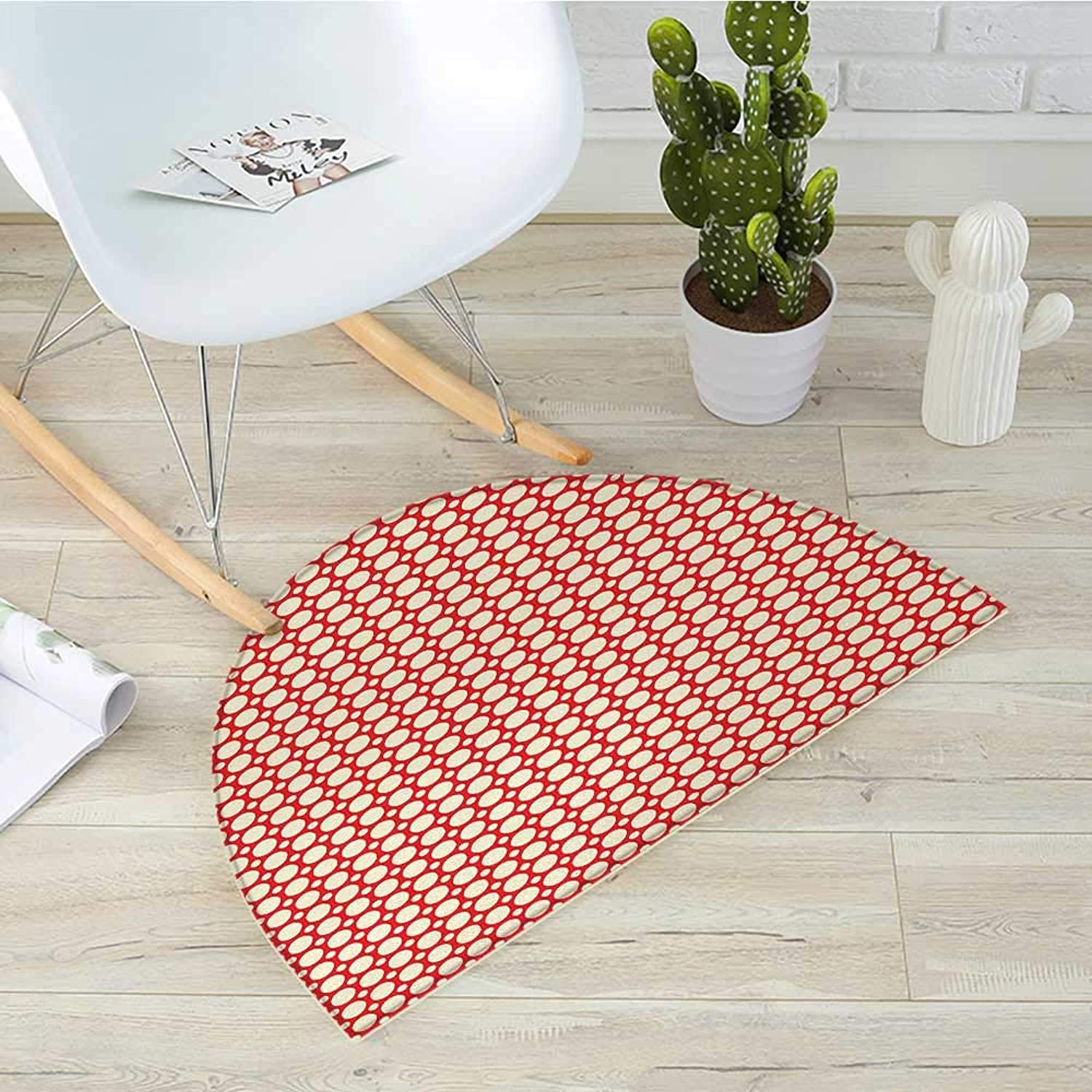 Retro Semicircular CushionBig and Small Polka Dots Pattern Symmetrical Geometric Tile Design Vintage Style Entry Door Mat H 43.3  xD 64.9  Red and Cream