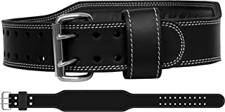 Mohammed Taveen Genuine Leather Workout Belt for Men & Women–Double Prong Weightlifting & Cross Training–Lower Back & Lumbar Support for Squats, Dead Lifts, Gym Workout