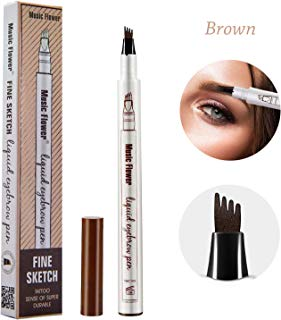 Tattoo Eyebrow Pen, Waterproof Tint with Four Tips, Long Lasting Smudge-Proof Natural Hair-Like All Day (Brown)