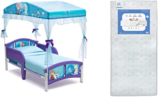 Delta Children Canopy Toddler Bed, Disney Frozen + Delta Children Twinkle Galaxy Dual Sided Recycled Fiber Core Toddler Mattress (Bundle)