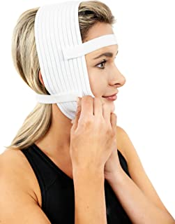 Compression Face Mask, Post Surgery Chin Compression Garment – Medical Head Wrap for Neck Lift Kit, Facial Surgery, Face Lift Kit, Chin Lift, Oral Maxilliofacial Surgery, TMJ LockJaw and more (S20)
