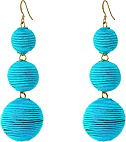 Triple Graduated Turquoise Thread Wrapped Balls Fishhook Top Ear Earrings