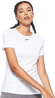 Nike Women's Np Top Ss All Over Mesh T-Shirt, White (Wht/blk), Medium-NKAO9951-100