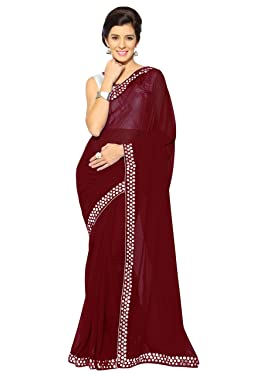 Sourbh Women's Fancy Georgette Plastic Mirror Work Saree with Un-Stitched Contrast Blouse Fabric