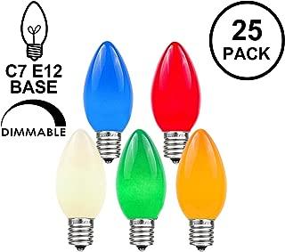 Novelty Lights 25 Pack C7 Outdoor String Light Ceramic Christmas Replacement Bulbs, Multi, C7/E12 Candelabra Base, 5 Watt