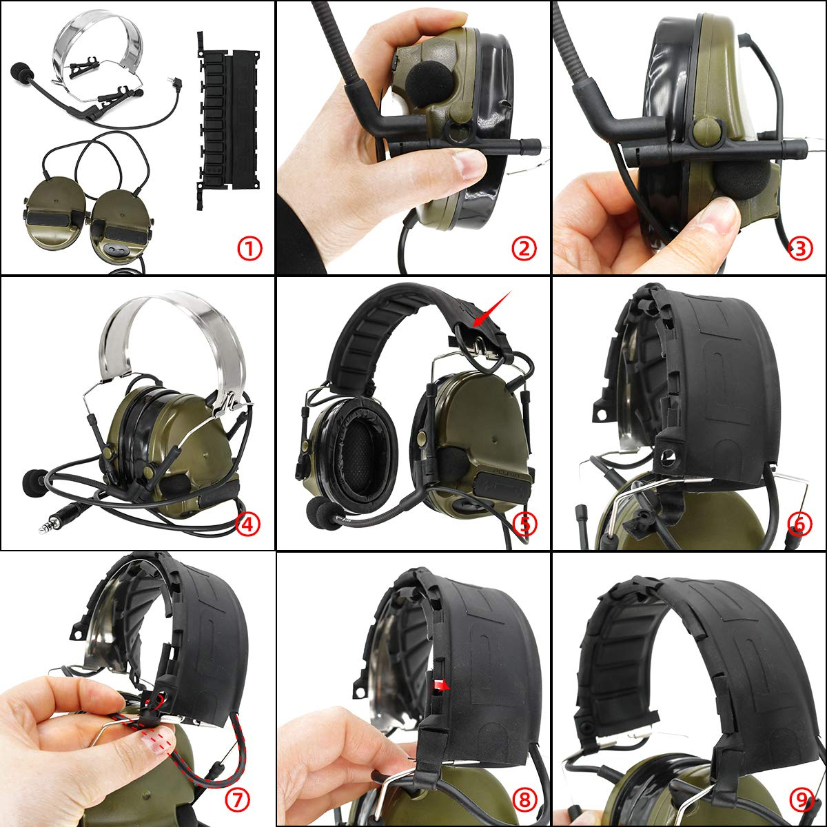 Black TAC-SKY Electronic Tactical Headset Hearing Defender Noise Reduction Sound Pickup Ear Protection