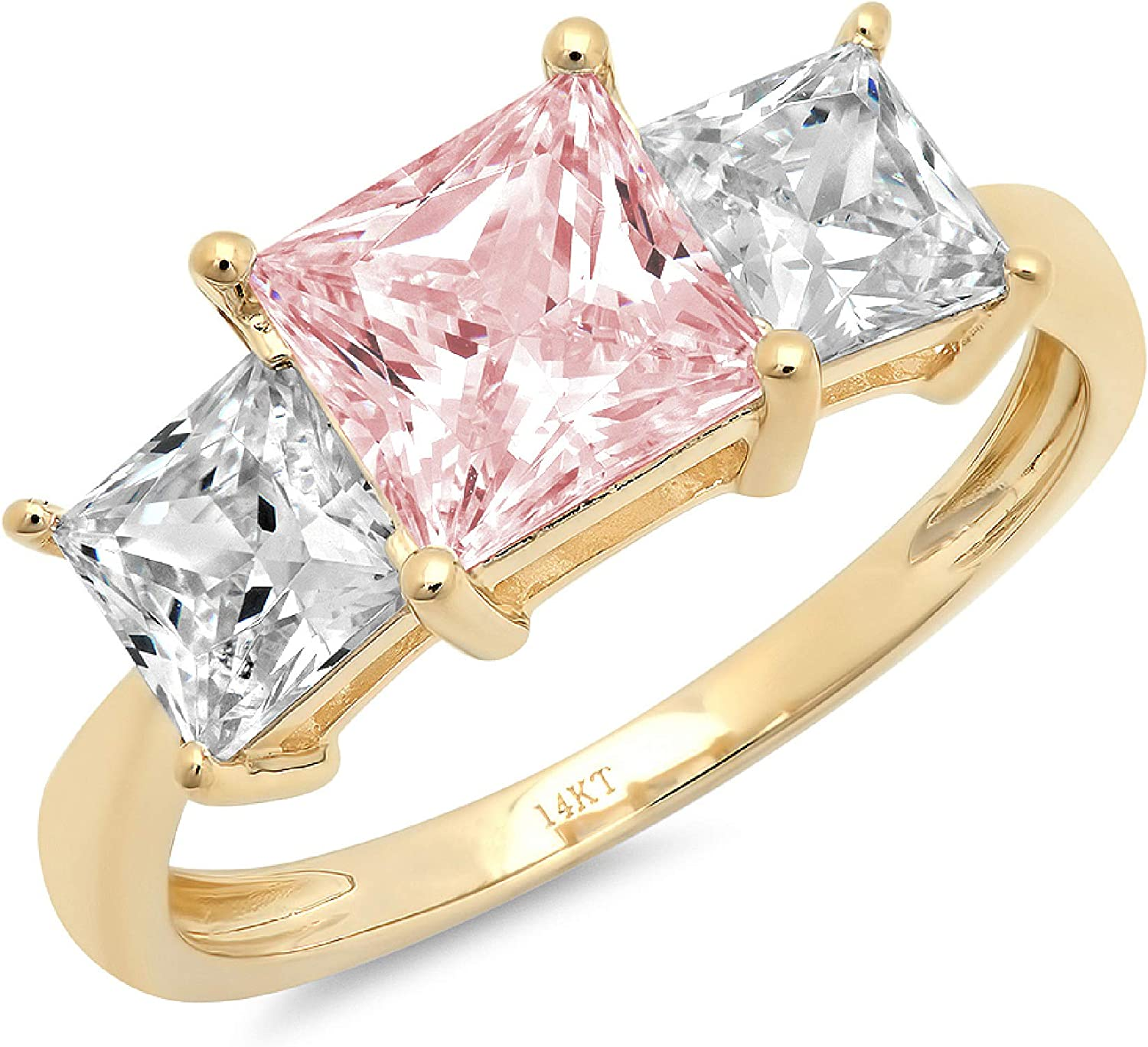 2.94ct Princess Cut 3 Stone Solitaire with Accent Pink Ideal VVS1 Simulated Diamond CZ Engagement Promise Statement Anniversary Bridal Wedding Ring 14k Yellow Gold
