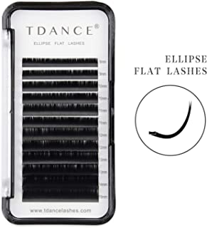 TDANCE Eyelash Extension Supplies,Ellipse Eyelash Extensions 0.15mm C Curl Mink Flat Lash Extension 8-15mm Mixed Black Matte Individual Eyelashes Extension (C-0.15,8-15mm)