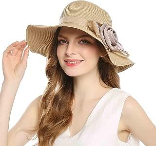 WELROG Women Floppy Sun Beach Straw Hats Wide Brim Summer Cap UPF 50+