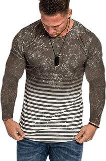 VANVENE Mens Stripe Slim-fit Casual Sweatshirts Pullover Cotton Curve Hem Sports Shirts M-3XL
