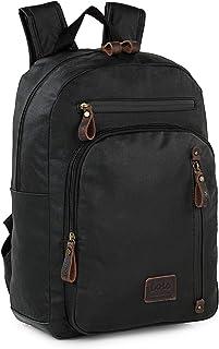 Mochila de Hombre para portátil pequeño Casual múltiples Compartimentos cómoda y para Uso Diario o Viaje Lona recubierta/Piel Calidad diseño 307836, Color Negro