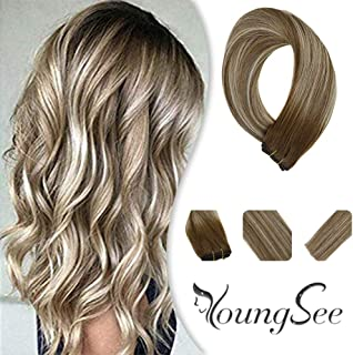Youngsee 20inch Remy Human Hair Weft Sew in Extensions 1 Bundle Balayage Brown Mixed with Blonde Human Hair Wefts Ombre Weave Human Hair 100g