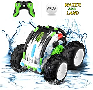 Remote Control Car Waterproof Stunt Car- 2.4Ghz 4WD Off Road Water & Land RC Cars-Double Sides Stunt Car with 360� Spins & Flips Racing Car Toys Indoor/Outdoor Toy for Kids Birthday Gift