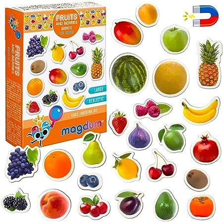Magneti bambini MAGDUM Frutti&Bacche - 25 GRANDI calamite frigorifero - Giochi educativi 1 anno - Giochi bambini 3 anni - Animali fattoria per bambini - Giochi magnetici per bambini - Calamite bambini