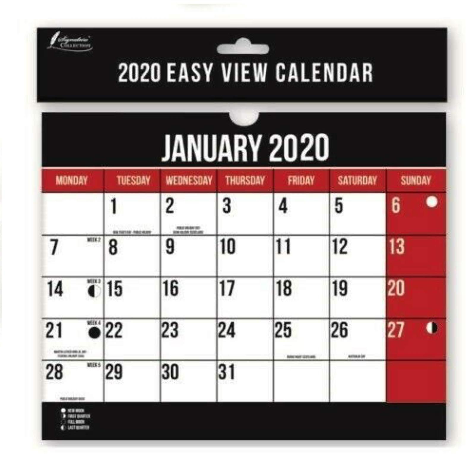 Calendario planificador de pared en espiral 2020, A4, fácil de ver mes a mes.: Amazon.es: Oficina y papelería