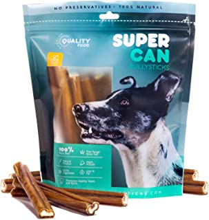 SUPER CAN BULLYSTICKS - Bully Sticks for Dogs 100% Natural and Healthy Dog Treats - High Protein, Naturally Scented Chews - 6 Inch Premium Free Range Grass Fed Beef Stick