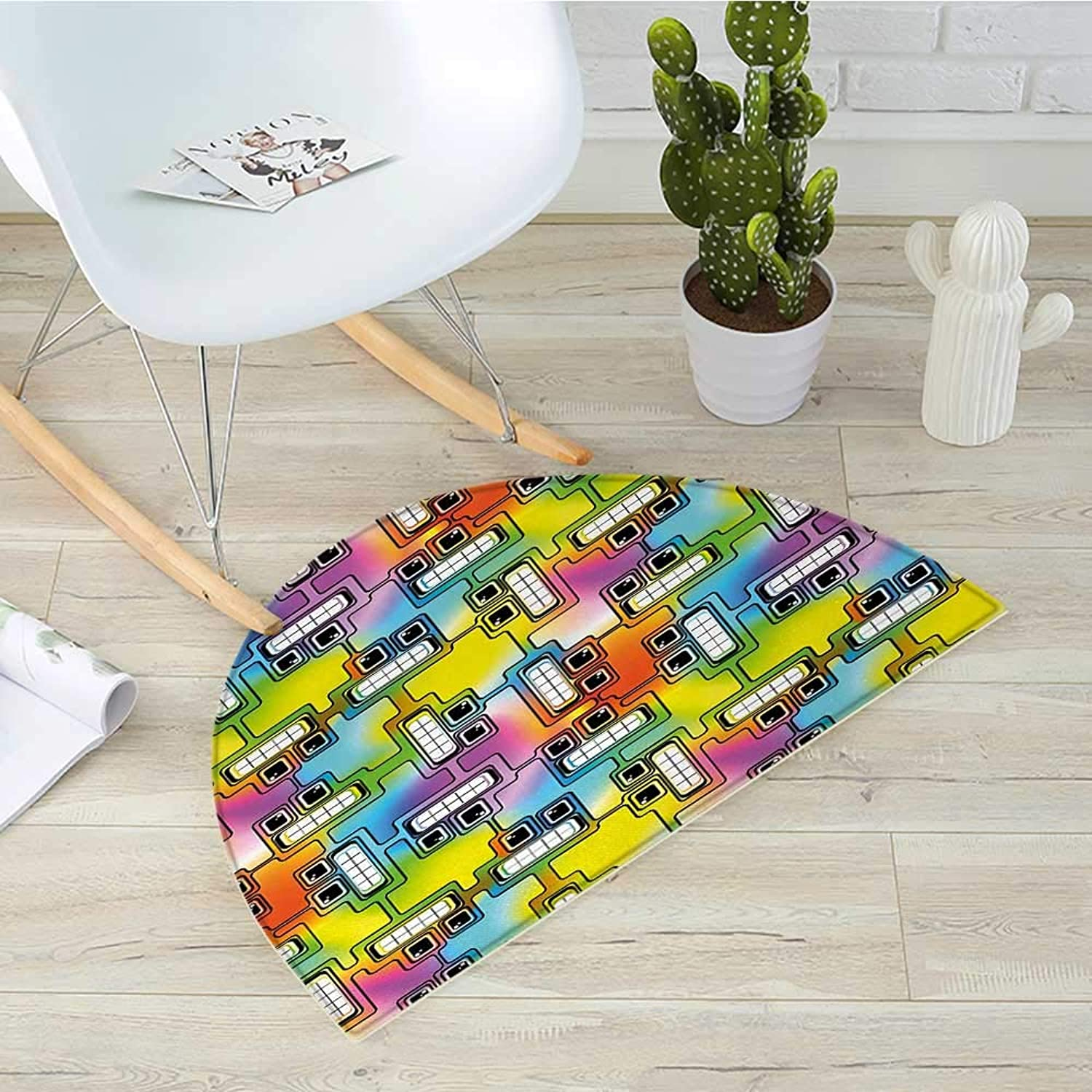 colorful Half Round Door mats Hippie Digital Fun Characters with Eyes and Teeth Video Games Artwork Pattern Bathroom Mat H 23.6  xD 35.4  Multicolor