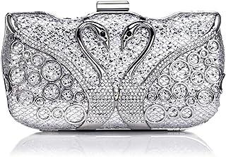 Handbags - Vintage Fashion Ladies' Dinner Bag, High-end Horizontal Square Swan-encrusted Drill Bag, Silver/gold/blue/red, 19x 5.5 X 10CM Shining (Color : Silver)
