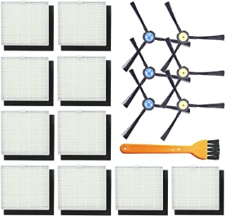 Replacement Parts Kit - 6 Side Brushes 10 High Efficiency Filters Sponge Filters for ILIFE V8s Series - Vacuum Cleaner Replenishment Brush Filter Accessories