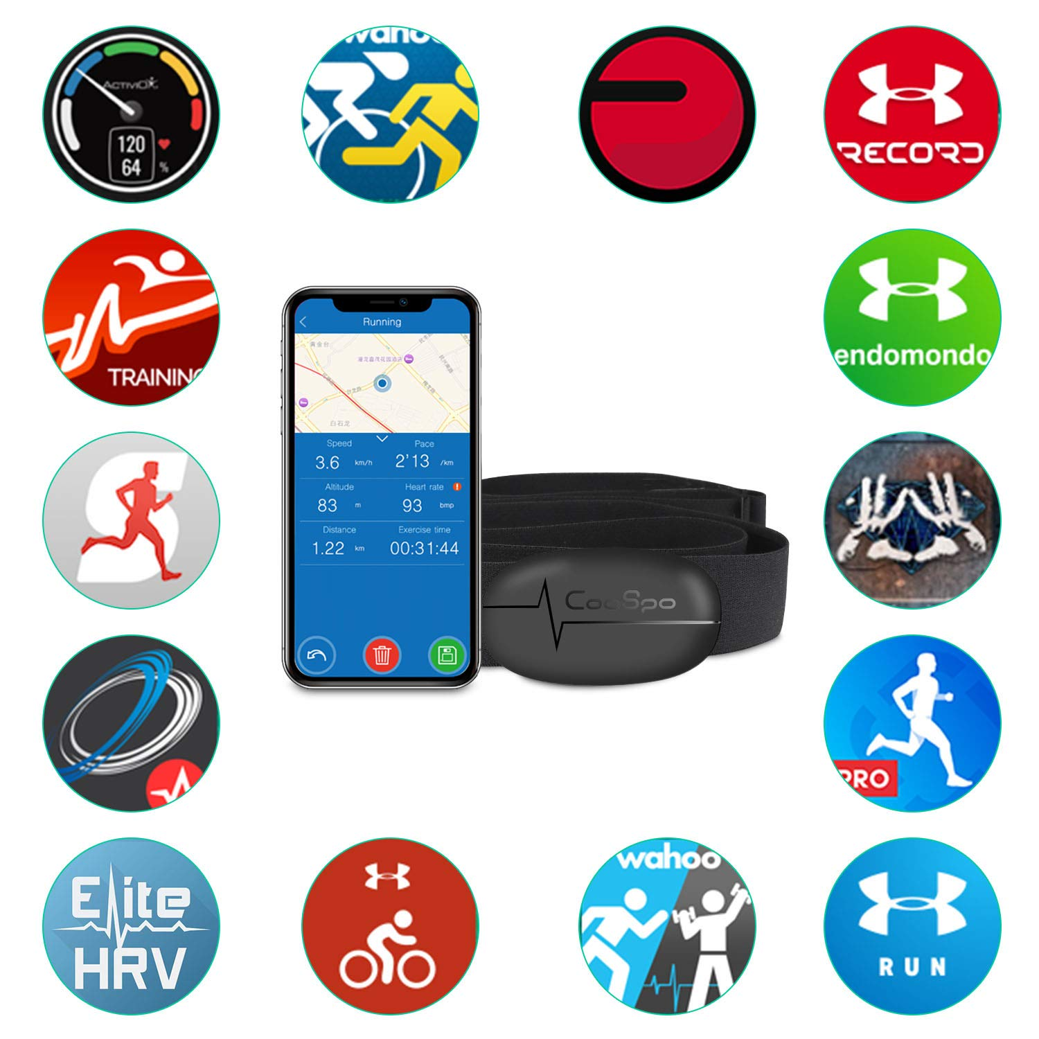 Coospo Heart Rate Monitor Chest Strap Bluetooth 4 0 Ant Waterproof Hr Sensor For Wahoo Peloton Zwift Polar Ddp Yoga Map My Ride Garmin Sports Watches Amazon Sg Sports Fitness Outdoors