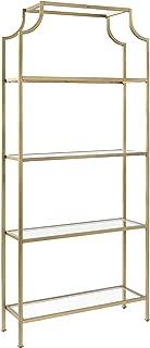 Crosley Furniture CF6101-GL Aimee Etagere Bookcase - Gold and Glass