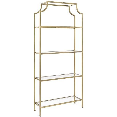 7528f09da575 Crosley Furniture CF6101-GL Aimee Etagere Bookcase - Gold and Glass