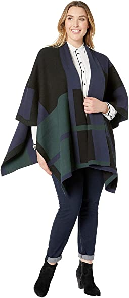 Plus Size Plaid Cotton Blend Poncho