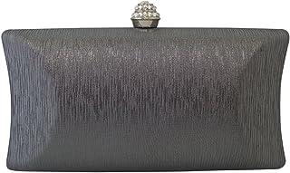 Chicastic Rhinestone Crystal Clasp Hard Box Wedding Evening Bag Bridal Cocktail Clutch Purse Grey
