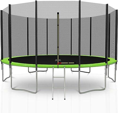 Outsidefun Gartentrampolin TUV mit Au netz, Durchmesser 14 Ft   427 cm – 12 Stangen – Farbe w bar