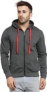 Scott International Men's Rich Cotton Pullover Hoodie Sweatshirt with Zip - Charcoal Grey