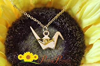 Origami Paper Crane Necklace, Bird Jewelry, Good Luck Jewelry, Origami Charm, Graduation Gift, Healing Jewelry, BFF Necklace