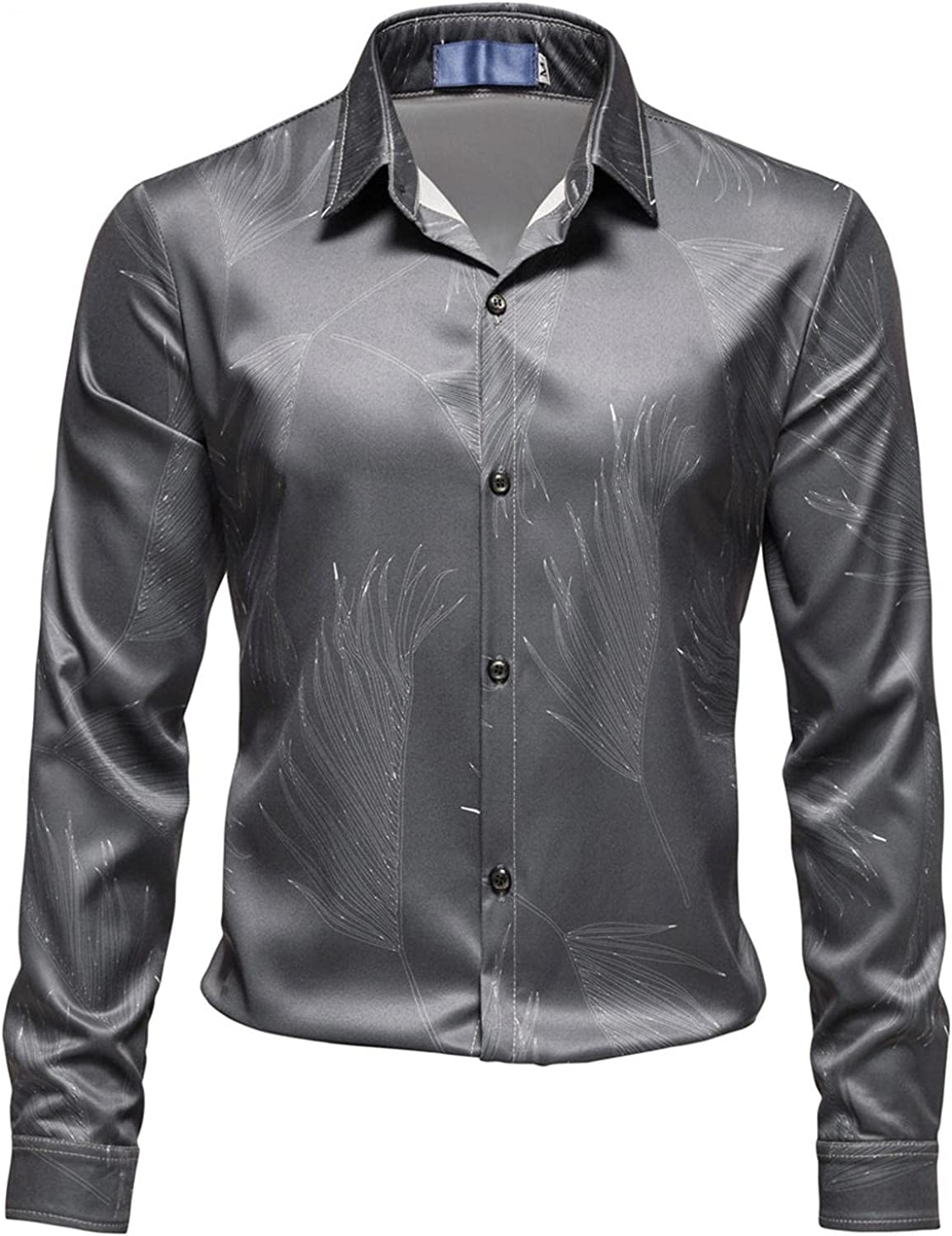 XUNFUN Mens Dress Shirts Business Formal Long Sleeve Button Up Slim Fit Stylish 3D Printed Graphic Shirts Tops Blouse
